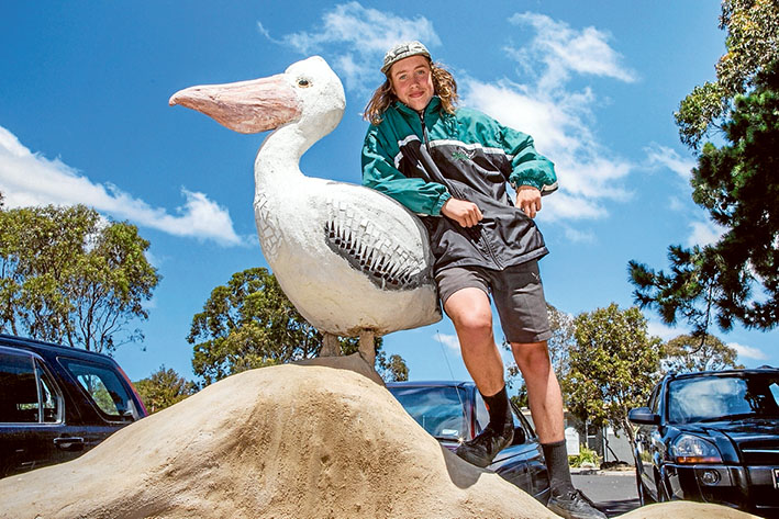 Ponder the Pelican perches on a wall created by Declan and other Western Port Secondary College students. Picture: Gary Sissons