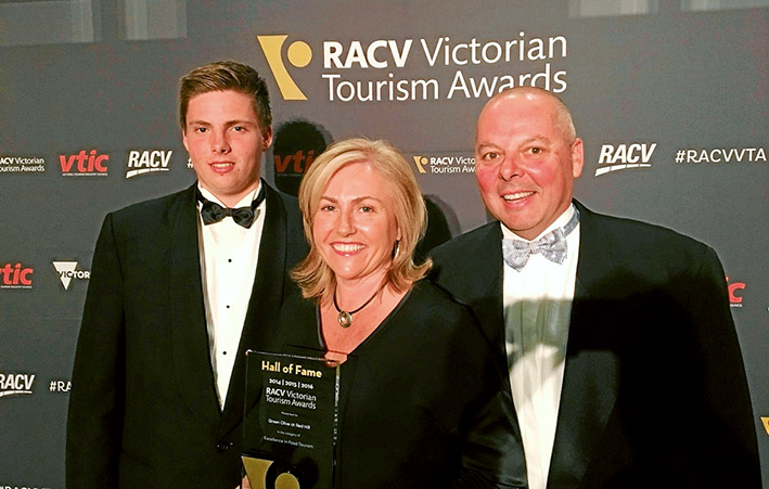 Food excellence: Greg, Sue and Sam from Green Olive at Red Hill, which won the Excellence in Food Tourism Award and now enters the RACV Victorian Tourism Awards Hall of Fame