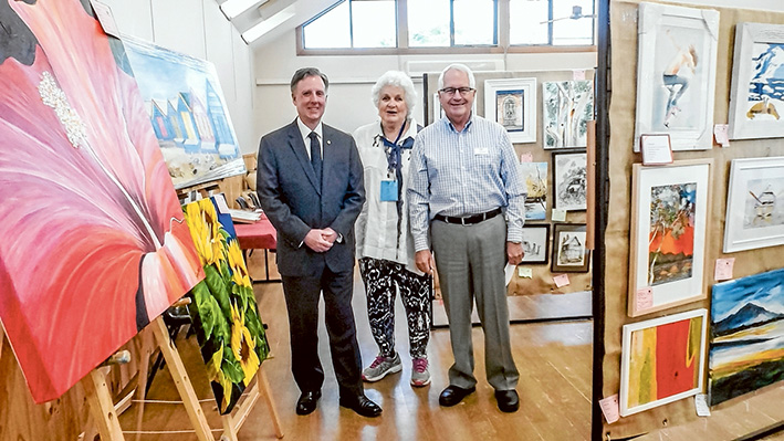 Hall of art: David Morris with Jan Oliver and Tom Jeavons at the art and craft show.